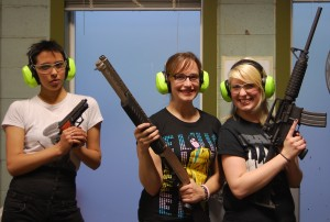 Charlies Angels? Selina Renfrow, Kelsey Hipkin and Gabrielle Domanski at The Shooting Edge in Calgary. Photo by Eli Callan.