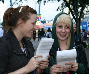 Katie and Gaby discuss food count. Photo by Amy Gregson