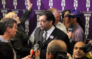 Photo by James Paton. After a long campaign, Naheed Nenshi speaks with media on election night, Oct. 18.
