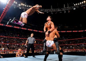 Photo Courtesy of the WWE. October 21, 2010 The Hart Dynasty double-teams the MIZ, launching into their famous Hart Attack finish.