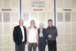 Photo by Blaine Meller. Inductees into the inaugural Mount Royal Cougars Wall of Fame pose for photos. (left to right) Dr. Don Stouffer, Sharlene Marschall, Joey Kenyon (on behalf of Jack Kenyon) and Gary Koroluk. The late Al Bohonus was also inducted.