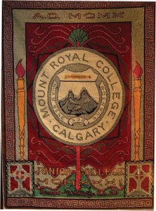 MRJC Tapestry: created in 1935, now hanging in the MRU Board Room. Photo Courtesy of Mount Royal University Archives