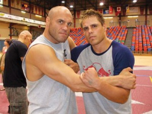Photo courtesy of Jesse Bongfeldt. Jesse Bongfeldt (right) poses with UFC legend Randy Couture. Bongfeldt will be making his UFC debut Dec. 11 in Montreal.