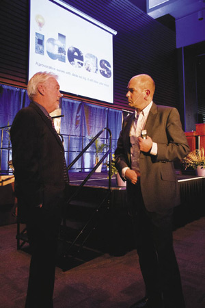 Photo by James Wilt. Chris Anderson chats with MRU president Dave Marshall.