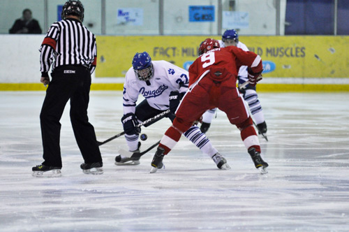 Photo by James Paton. The Cougars men's hockey team could be forced to face-off with SAIT in a one-game winner-take-all for the ACAC title.  Mount Royal was ruled have dressed an ineligible player for Game 5 of their series, which the Cougars captured 1-0.
