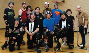 Photo by Jorden Dixon.  There are few men's teams in the roller derby circuit. In fact, these guys are the only team in Calgary.