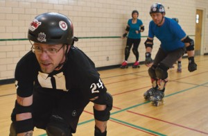 Photo by Jorden Dixon.  Roller derby is a tough sport, and it's not uncommon to end a game with a number of bruises, or even broken bones. The men's league, although they represent a minority in a female dominated sport, have no hesitations when saying they play a bit rougher than the women.