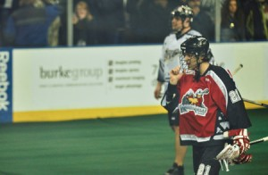 Photo courtesy Calgary Roughnecks.  Joe Vetere made his regular season debut with the Calgary Roughnecks during a 12-11 road win in Edmonton Feb. 20. The Rougnecks are looking for financial help to finish the season.