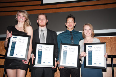Photos by Blaine Meller.  Above left, Andrea Price, Justin Cote, Matt Chan and Maddie Pedersen pose with their respective athlete and rookie of the year awards.