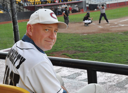 David Docherty takes in a game between the Calgary Vipers and Lake County Fielders on Aug. 1. Photo courtesy MRU