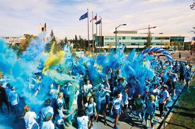 Colour-U Blue is back this year! Get ready to be 'blueified' (Photo from the 2013 run).  Photo courtesy: MRU Recreation