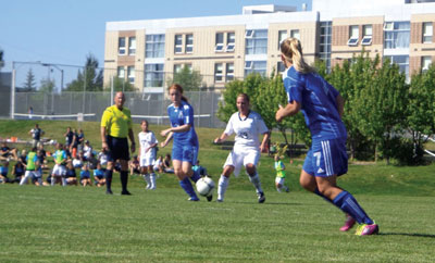 MRU Cougars soccer teams were successful in their home openers against the University of Lethbridge Pronghorns and MacEwan University Griffins. Photo: Amanda Ducheminsky