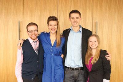 Your 2014-15 SAMRU executives are (L to R): Tristan Smyth, Zoe Slusar, Erik Queenan and Seija Roggeveen. Photo courtesy: SAMRU
