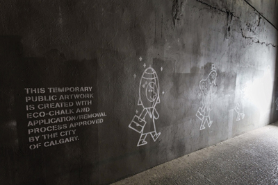 Science meets art, as Calgary welcomes back Beakerhead to the city with cool eco-friendly graffiti in busy underpasses downtown.  Photo courtesy: Facebook / Neil Zeller Photography