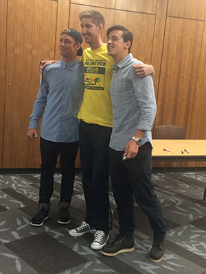 New Student Orientation leaders had the opportunity to meet the McMorris brothers. Photo: Amanda Ducheminsky