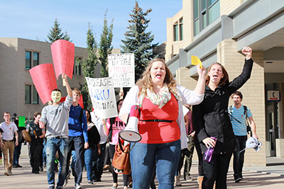 Laurie Gaal (left) and Jenny West (right) led the charge around MRU on Oct 9, voicing student opposition to proposed tuition hikes. Photo: Katie Brown