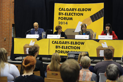 The Calgary-Elbow byelection forum took place Oct. 21 at MRU. PC candidate Gordon Dirks was a no-show and Wildrose candidate John Fletcher had a stand-in. The forum was open to the public, and featured questions about post-secondary funding and environmental issues. Photo: Albina Khouzina