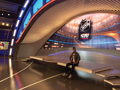 Hockey Night in Canada has a new — but familiar — face, George Stroumboulopoulos. Starting his career out at MuchMusic, he has since made a name for himself on CBC's talk show, The Hour. He now has a new home on TV entertaining sportsfans. Photo courtesy: Twitter