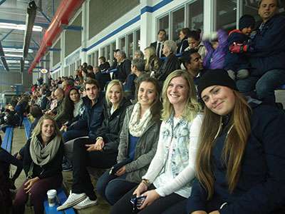 Support your school and show some spirit by making the MRU hockey game the place to be. Nikki Golding (fourth from the right) and her friends came out to show their school spirit.  Photo: Jeff Kobar