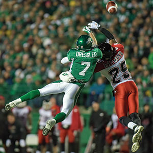 The rivalry continues as the Calgary Stampeders take on the Saskatchewan Roughriders on home turf. Photo courtesy: Facebook