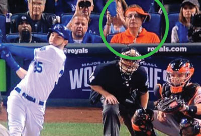 """Laurence Leavy Marlins Fan,"" spotted in his usual Marlins attire is a MLB celebrity, with fans lining up to take photos when they spot him. Photo courtesy: Twitter"