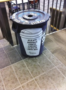Coffee cup recycling bins put on campus to promote a more sustainable lifestyle are, unfortunately, not used very much. Photo courtesy: Facebook