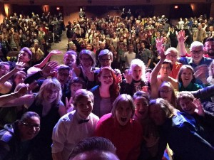 The cast and crew of the Coming Out Monologues YYC attempted an 'Ellen selfie' at the end of the March 20 show. Photo courtesy: Facebook