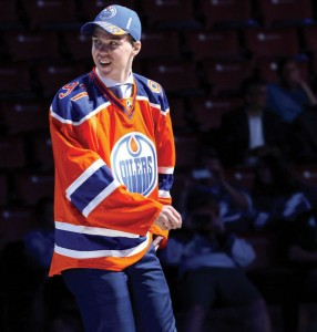 "Connor McDavid, star centermen of the Edmonton Oilers has returned to the ice after suffering from a broken clavicle. In just 16 games this season he has scored six goals and eleven assists giving him the nickname of ""McJesus."" 